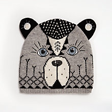 Buy John Lewis Bear Pattern Wool Hat, One Size, Grey Online at johnlewis.com