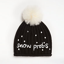 Buy John Lewis Snow Probs Pom Pom Beanie Hat, Black Online at johnlewis.com