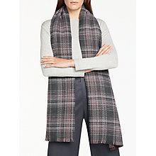 Buy John Lewis Cashmink Double Faced Check Scarf, Black/Pink Online at johnlewis.com