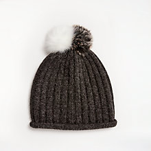Buy John Lewis Double Pom Pom Beanie Hat, Charcoal Online at johnlewis.com