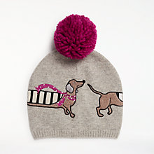 Buy John Lewis Sausage Dog Wool Blend Pom Pom Beanie Hat, Grey/Multi Online at johnlewis.com