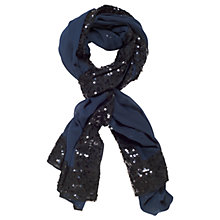 Buy Chesca Chiffon And Sequin Detail Shawl, Blue Online at johnlewis.com