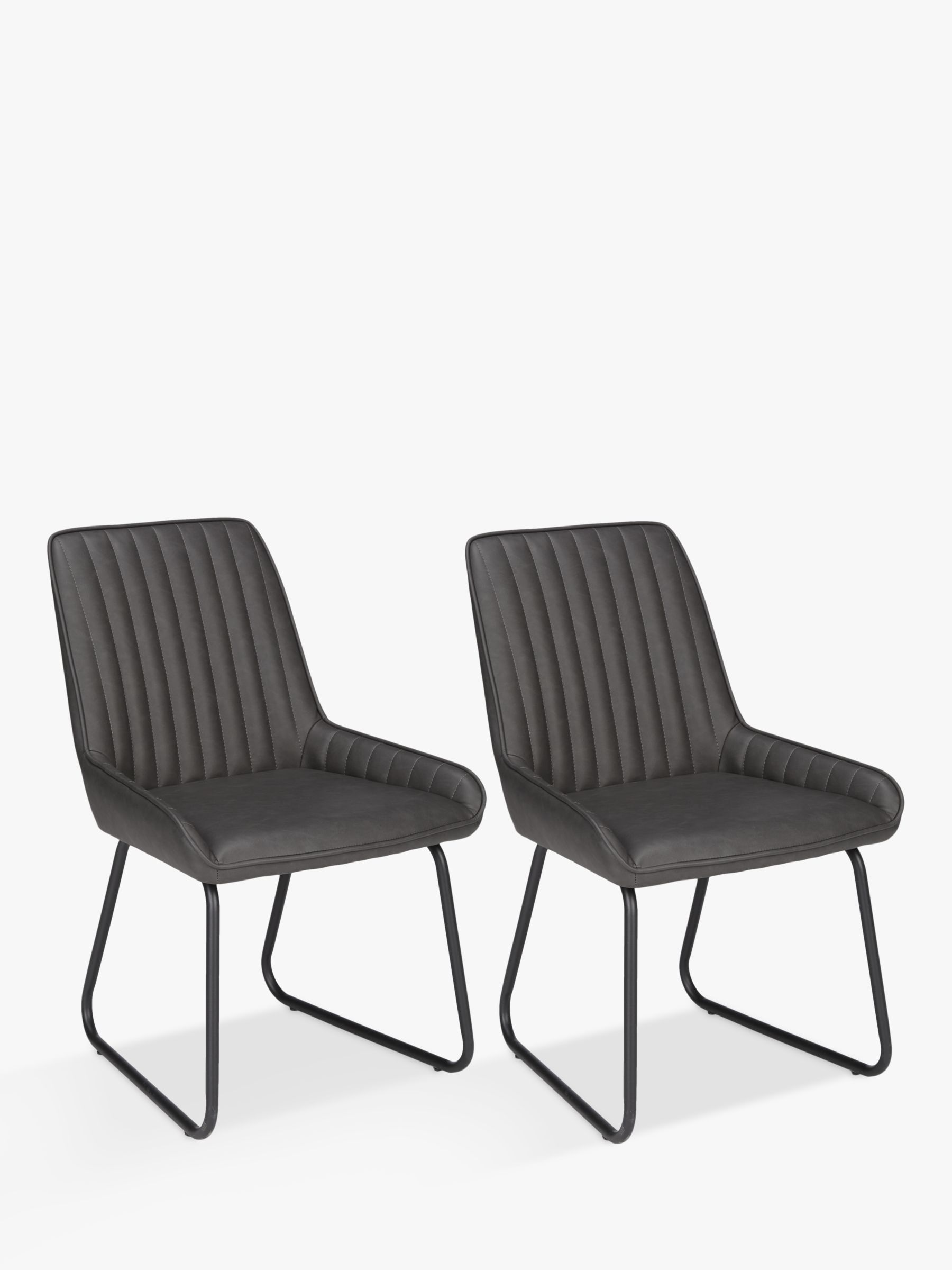 John Lewis & Partners Brooks Side Dining Chairs, Set of 9, Charcoal