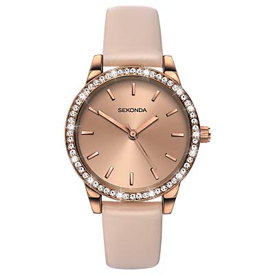 Sekonda Women's Crystal Leather Look Strap Watch