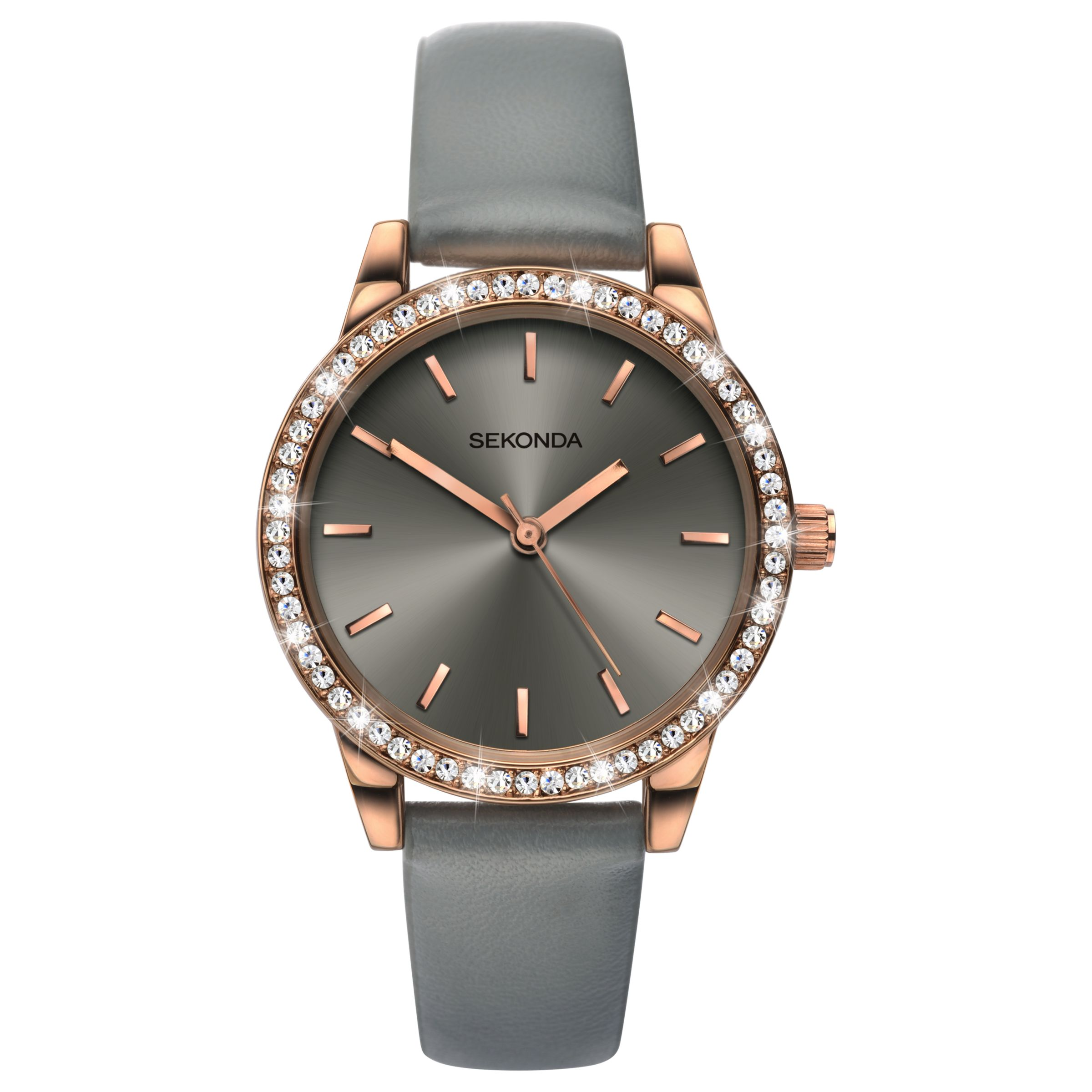 Sekonda Sekonda Women's Crystal Leather Look Strap Watch