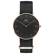 Buy Daniel Wellington DW00100150 Unisex Cornwall Fabric Strap Watch, Black Online at johnlewis.com