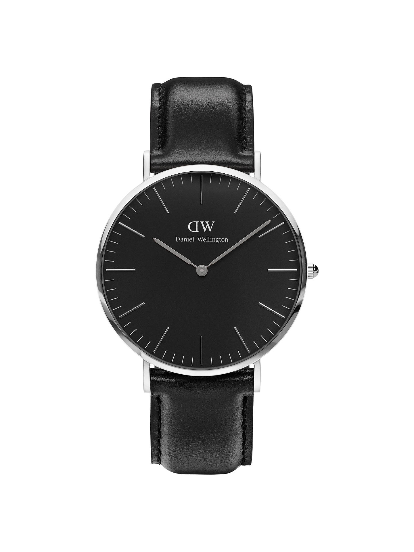 BuyDaniel Wellington DW00100133 Unisex Sheffield Leather Strap Watch, Black/Silver Online at johnlewis.com