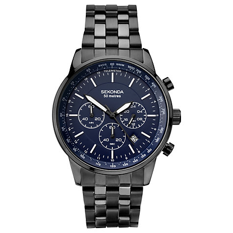 men s watches men s designer watches john lewis buy sekonda 1376 27 men s chronograph date bracelet strap watch black navy online at johnlewis