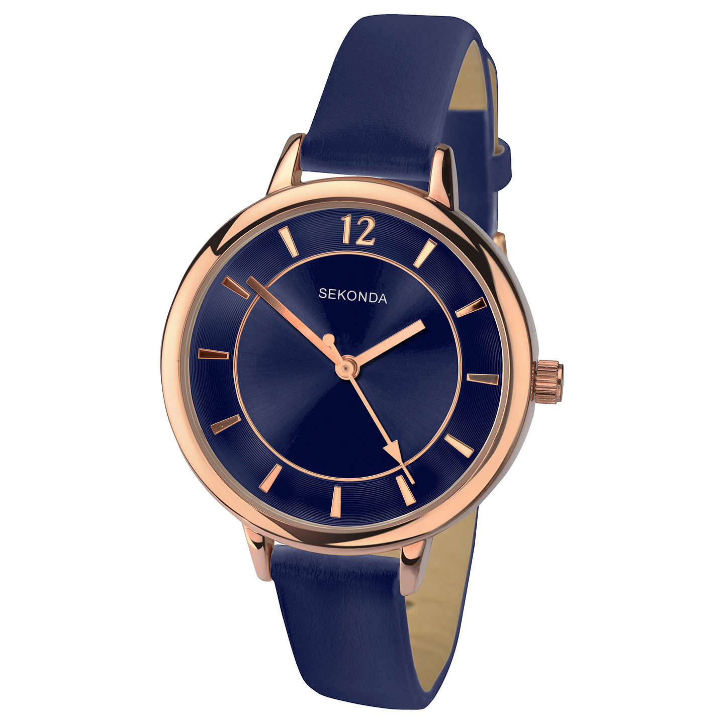 BuySekonda 2136.27 Women's Leather Look Strap Watch, Navy Online at johnlewis.com