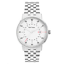 Buy Paul Smith P10074 Men's Gauge Date Bracelet Strap Watch, Silver/White Online at johnlewis.com