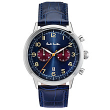 Buy Paul Smith P10012 Men's Precision Chronograph Date Leather Strap Watch, Dark Blue Online at johnlewis.com