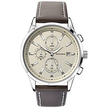 Buy Sekonda 1394.27 Men's Chronograph Date Leather Strap Watch, Dark Brown/Cream Online at johnlewis.com