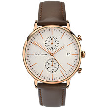 Buy Sekonda 1381.27 Men's Chronograph Date Leather Strap Watch, Brown/Cream Online at johnlewis.com