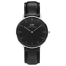 Buy Daniel Wellington DW00100145 Unisex Sheffield Leather Strap Watch, Black Online at johnlewis.com
