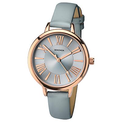 Sekonda 2356.27 Women's Leather Look Strap Watch, Grey/Silver