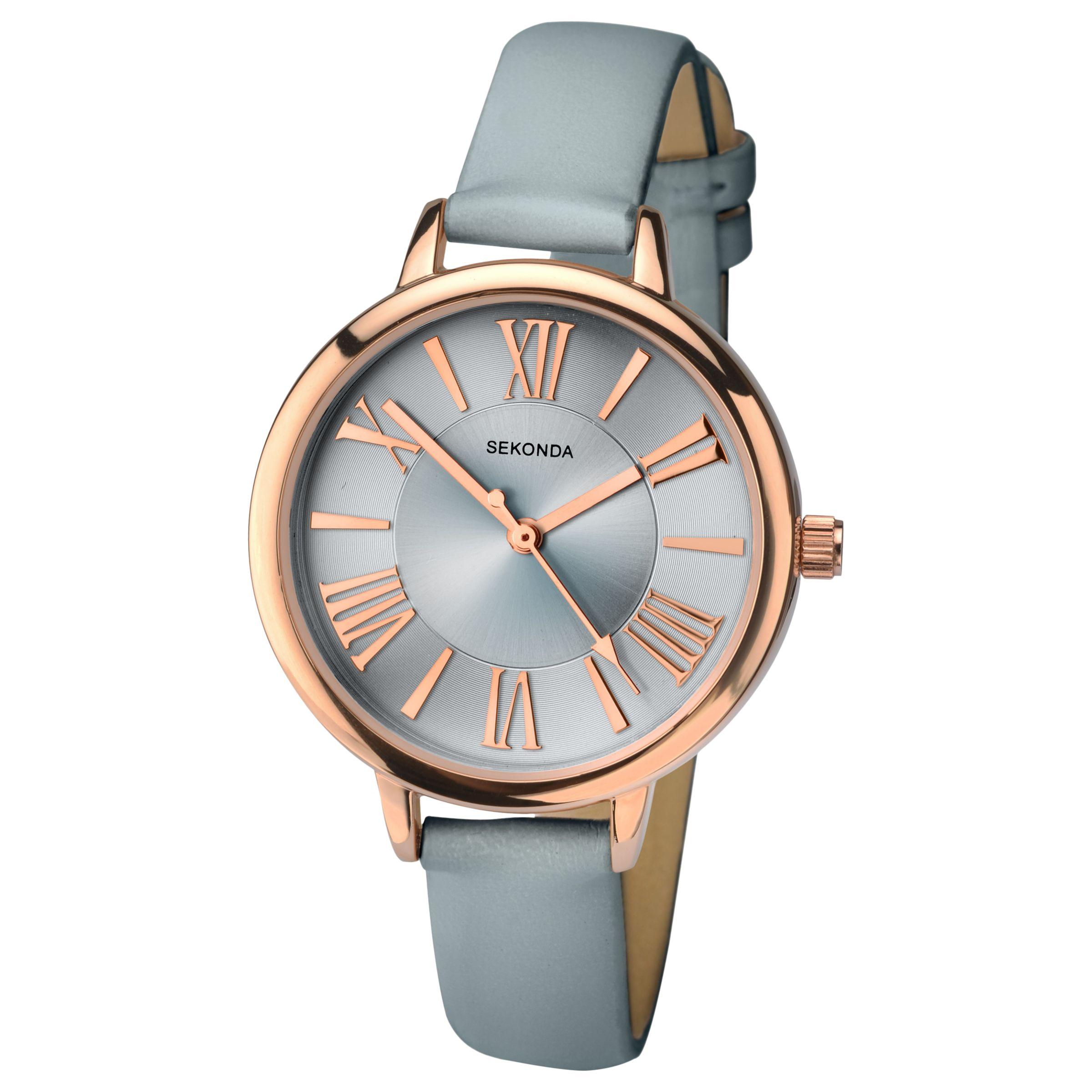 Sekonda Sekonda 2356.27 Women's Leather Look Strap Watch, Grey/Silver