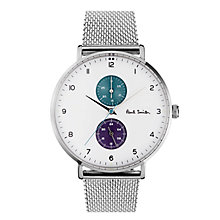 Buy Paul Smith PS0070007 Men's Track Bracelet Strap Watch, Silver/White Online at johnlewis.com