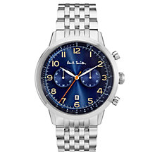 Buy Paul Smith P10017 Men's Precision Chronograph Date Bracelet Strap Watch, Silver/Dark Blue Online at johnlewis.com