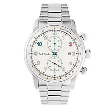 Buy Paul Smith P10142 Men's Gauge Chronograph Date Bracelet Strap Watch, Silver/White Online at johnlewis.com