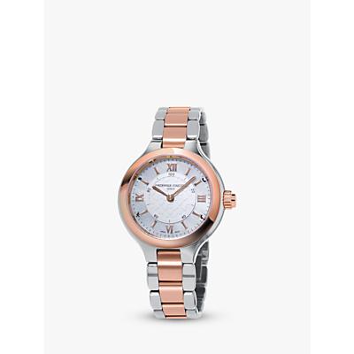 Frédérique Constant FC-281WH3ER2B Women's Horological Smartwatch Bracelet Strap Watch, Silver/Rose Gold