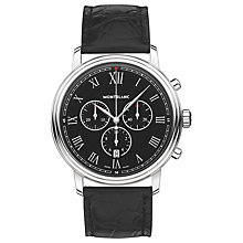 Buy Montblanc 117047 Men's Tradition Chronograph Alligator Leather Strap Watch, Black Online at johnlewis.com