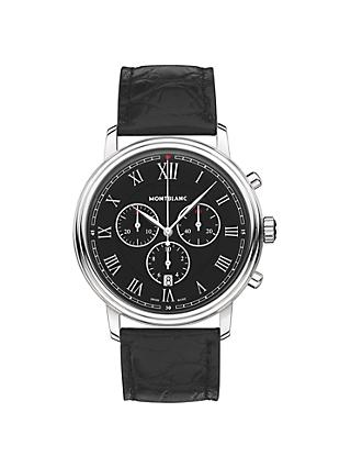 Montblanc 117047 Men's Tradition Chronograph Alligator Leather Strap Watch, Black