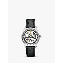 Buy Hamilton H42555751 Men's Jazzmaster Viewmatic Skeleton Automatic Leather Strap Watch, Black/Silver Online at johnlewis.com