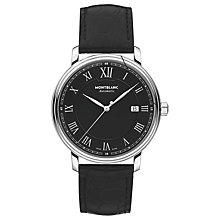 Buy Montblanc 116482 Men's Tradition Automatic Date Leather Strap Watch, Black Online at johnlewis.com