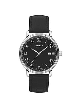 Montblanc 116482 Men's Tradition Automatic Date Alligator Leather Strap Watch, Black