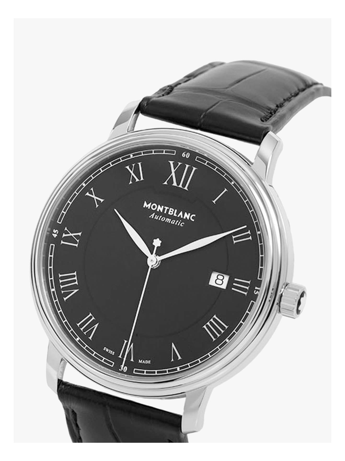 d183e51e1f3 ... Buy Montblanc 116482 Men's Tradition Automatic Date Alligator Leather Strap  Watch, Black Online at johnlewis ...