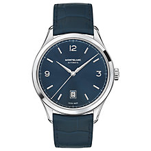 Buy Montblanc Men's Leather Strap Watch, Blue/Silver Online at johnlewis.com