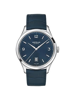 Montblanc Men's Leather Strap Watch, Blue/Silver