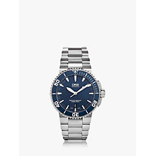 Buy Oris 01 733 7653 4155-07 8 26 01PEB Men's Aquis Automatic Date Bracelet Strap Watch, Silver/Blue Online at johnlewis.com