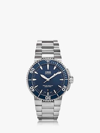 Oris 01 733 7653 4155-07 8 26 01PEB Men's Aquis Automatic Date Bracelet Strap Watch, Silver/Blue