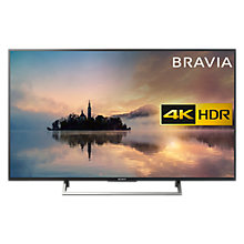 "Buy Sony Bravia KD49XE7003 LED HDR 4K Ultra HD Smart TV, 49"" with Freeview HD & Cable Management, Black Online at johnlewis.com"