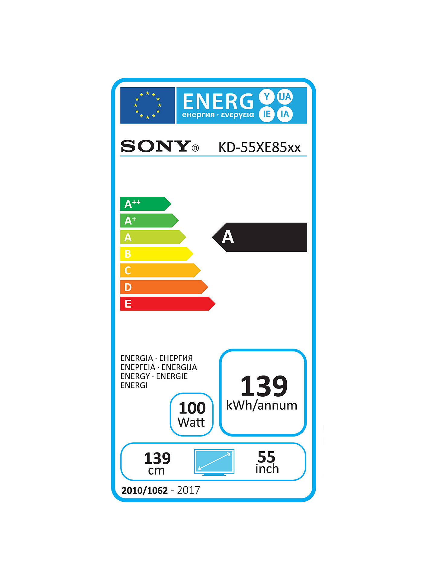 Sony Bravia KD55XE8596 LED HDR 4K Ultra HD Smart Android TV, 55