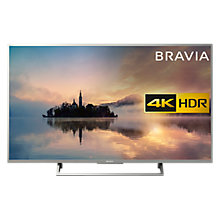 "Buy Sony Bravia KD49XE7073 LED HDR 4K Ultra HD Smart TV, 49"" with Freeview Play & Cable Management, Silver Online at johnlewis.com"