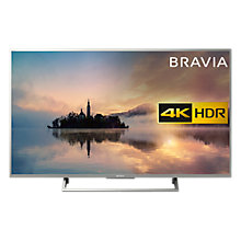 "Buy Sony Bravia KD43XE7073 LED HDR 4K Ultra HD Smart TV, 43"" with Freeview Play & Cable Management, Silver Online at johnlewis.com"