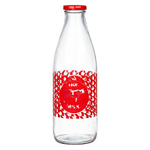 Buy LEON Glass Milk Bottle, Clear/Red, 27cm Online at johnlewis.com