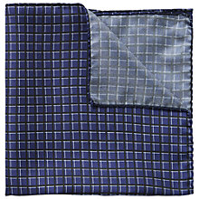 Buy HUGO by Hugo Boss Check Silk Pocket Square, Medieval Blue Online at johnlewis.com