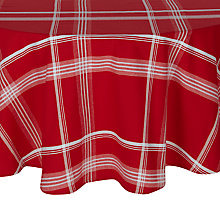 Buy John Lewis Folklore Check Round Tablecloth, Red/White, Dia.180cm Online at johnlewis.com