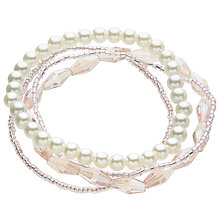 Buy John Lewis Crystal Bead Faux Pearl Layered Stretch Bracelet, Blush Online at johnlewis.com