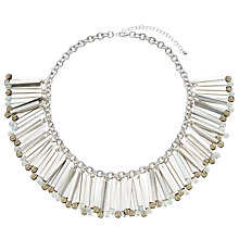 Buy John Lewis Tube Crystal Statement Fan Necklace, Silver Online at johnlewis.com