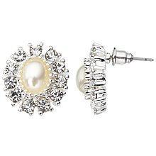 Buy John Lewis Faux Pearl and Cubic Zirconia Large Stud Earrings, Silver Online at johnlewis.com