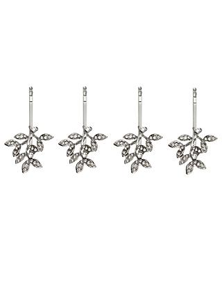 John Lewis & Partners Cubic Zirconia Leaf Hair Grips, Pack of 4, Silver