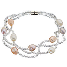 Buy John Lewis Faux Pearl Beaded Layered Bracelet, Cream/Pink Online at johnlewis.com