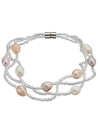 John Lewis & Partners Faux Pearl Beaded Layered Bracelet, Cream/Pink