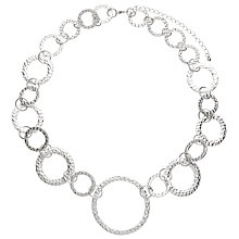 Buy John Lewis Hammered Circle Statement Necklace, Silver Online at johnlewis.com