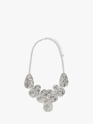 John Lewis & Partners Hammered Oval Link Statement Necklace, Silver
