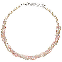 Buy John Lewis Crystal Bead Faux Pearl Layered Necklace, Blush Online at johnlewis.com